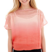 by&by Short-Sleeve Ombré Crochet-Shoulder Top