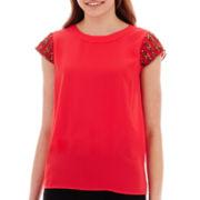 XOXO® Short-Sleeve Beaded-Shoulder Top