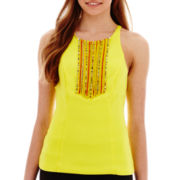 XOXO® Sleeveless Beaded-Necklace Scuba Top