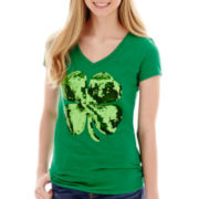 Short-Sleeve Sequin Shamrock Graphic Tee