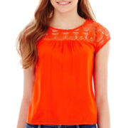 Arizona Cap-Sleeve Lace-Yoke Top