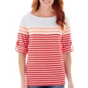 St. John's Bay® Elbow-Sleeve Roll-Tab Stripe Boatneck T-Shirt