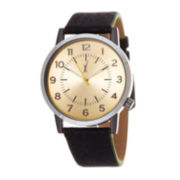Zunammy® Mens Gold-Tone Dial Black Strap Watch