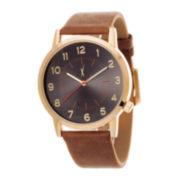Zunammy® Mens Black Dial Brown Strap Watch