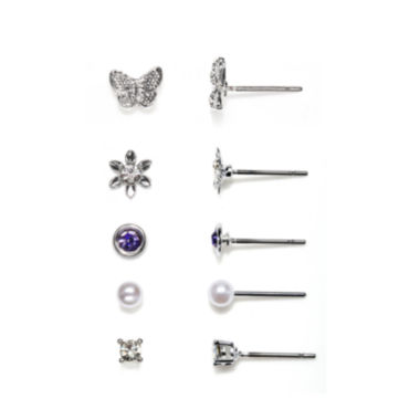 jcpenney.com | Mixit™ Silver-Tone 5-pr. Stud Earring Set