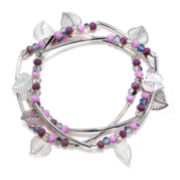 Mixit™ Silver-Tone Filigree Leaf 3-pc. Set of Stretch Bracelets
