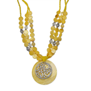 jcpenney.com | Mixit™ Yellow Shell Medallion Necklace