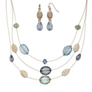 Mixit™ Blue Earring and Illusion Necklace Set