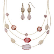 Mixit™ Pink Earring and Illusion Necklace Set