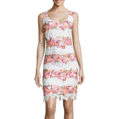 jcpenney.com | Bisou Bisou® Sleeveless Lace Sheath Dress