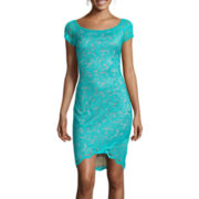 Bisou Bisou® Cap-Sleeve Lace Sheath Dress
