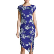 Weslee Rose Cap-Sleeve Asymmetrical Sheath Dress