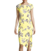 Weslee Rose Cap-Sleeve Print Sheath Dress