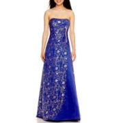 Reign On Strapless Floral Glitter Ballgown Dress