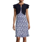 Perceptions Short-Sleeve Floral Print Ruffle-Hem Jacket Dress