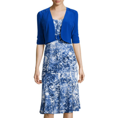 jcpenney.com | Perceptions Elbow-Sleeve Paisley Print Buckle-Front Jacket Dress