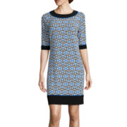 R&K Originals® Elbow-Sleeve Geometric Print Shift Dress