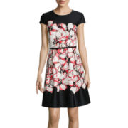 R&K Originals® Cap-Sleeve Floral Print Fit-and-Flare Dress