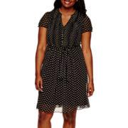 MSK Short-Sleeve Dot Print Pintuck Shirtdress - Plus