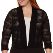 RN studio by Ronni Nicole® 3/4-Sleeve Crochet Shrug - Plus