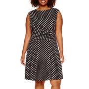 Perceptions Sleeveless Dot Print Side-Ruched Dress - Plus