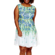 Danny & Nicole® Sleeveless Floral Print Fit-and-Flare Dress - Plus