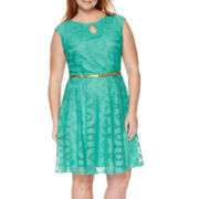 London Style Collection Cap-Sleeve Lace Fit-and-Flare Dress - Plus