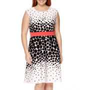 Studio 1® Sleeveless Dot Print Fit-and-Flare Dress - Plus