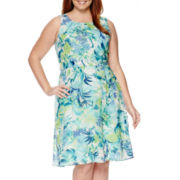 R&K Originals® Sleeveless Floral Tie-Waist Dress - Plus