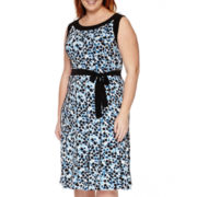 Perceptions Sleeveless Belted Print Dress - Plus