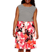Studio 1® Sleeveless Floral Stripe Fit-and-Flare Dress - Plus