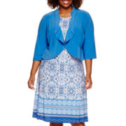 Danny & Nicole® 3/4-Sleeve Ruffle Jacket Dress - Plus