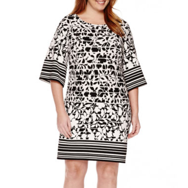 jcpenney.com | Perceptions 3/4-Sleeve Printed Sheath Dress - Plus