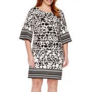 Perceptions 3/4-Sleeve Printed Sheath Dress - Plus