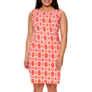 Alyx® Sleeveless Geometric Print Sheath Dress - Plus