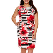 Alyx® Sleeveless Floral Striped Sheath Dress - Plus