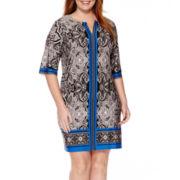 Studio 1® 3/4-Sleeve Keyhole Sheath Dress - Plus