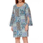 RN Studio by Ronni Nicole Long-Sleeve Print Shift Dress - Plus