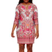 Tiana B. 3/4-Sleeve Paisley Print Sheath Dress - Plus