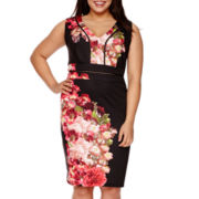 Bisou Bisou® Sleeveless Printed Scuba Sheath Dress - Plus