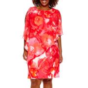 Studio 1® Floral Print Scuba Cape Dress - Plus