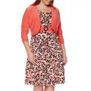 Perceptions 3/4-Sleeve Buckle Jacket Dress - Plus