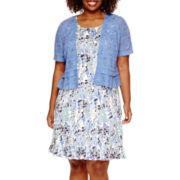 Perceptions Short Sleeve Lace Jacket Dress - Plus