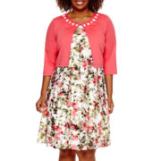 Perceptions 3/4-Sleeve Floral Lace Jacket Dress - Plus