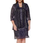 R&M Richards Long-Sleeve Metallic Duster Jacket Dress - Plus