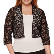 R&M Richards Long-Sleeve Lace Sequin Shrug - Plus