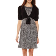 Perceptions Short-Sleeve Tie-Front Jacket Dress - Petite