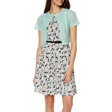 jcpenney.com | R&K Originals® Short-Sleeve Textured Jacket Dress - Petite