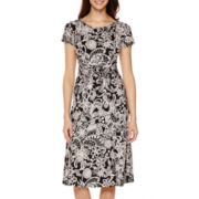 Perceptions Short-Sleeve Buckle-Waist Fit-and-Flare Dress - Petite