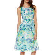 R&K Originals Sleeveless Floral Tie-Waist Dress - Petite